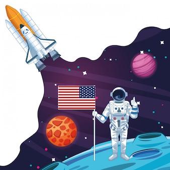 銀河系の漫画の宇宙飛行士