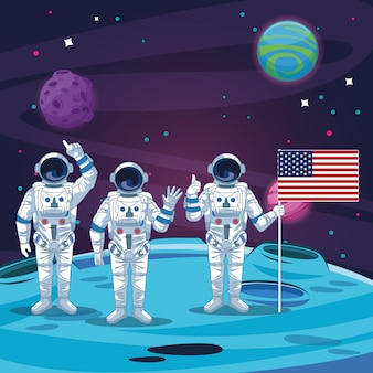 月の風景の中の宇宙飛行士