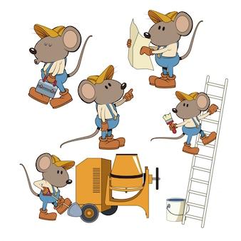 建設のマウス労働者面白い漫画