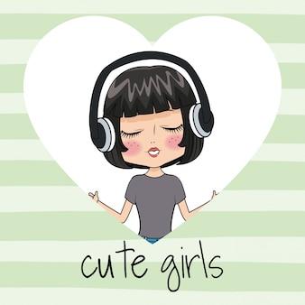かわいい女の子とヘッドホン