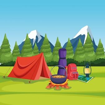 農村景観におけるキャンプの要素