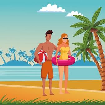 夏の漫画を楽しむ若いカップル
