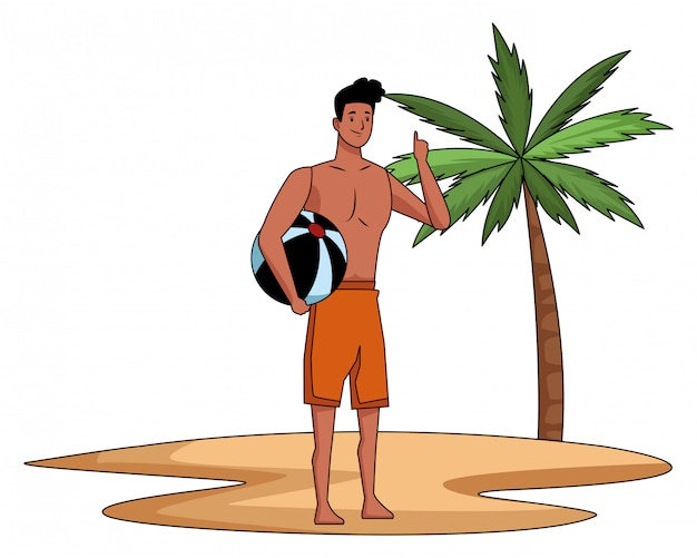 夏の時間の漫画の若い男