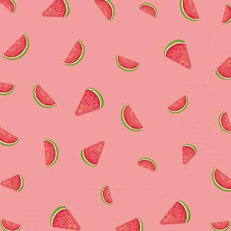 スイカピンクのフルーツパターン背景