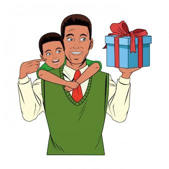 Мужчина несет мальчика с подарочной коробкой