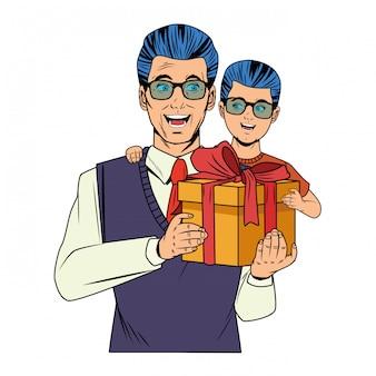 ギフト用の箱を持つ少年を運ぶ男
