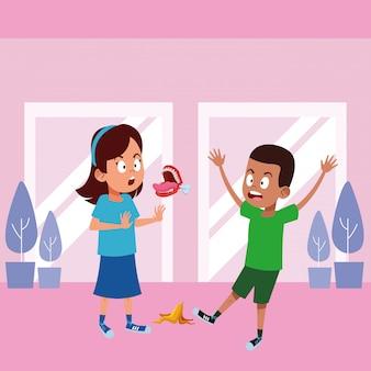 Молодые дети аватар картонного персонажа