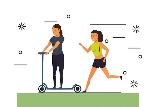 フィットネスの人々トレーニング漫画風景
