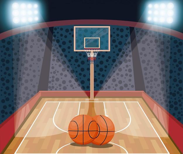 バスケットボールスポーツゲームの風景漫画