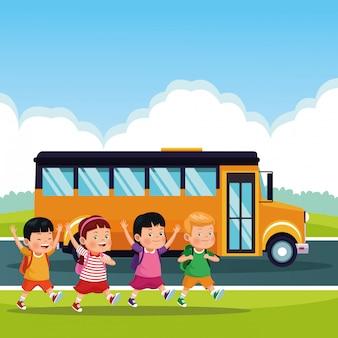 学校に戻る子供漫画