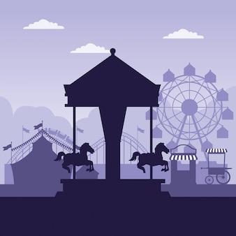 Цирковой фестиваль-ярмарка декораций синего и белого цветов