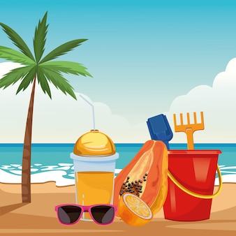 夏のビーチと休暇の漫画