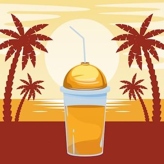 Мультяшный фруктовый тропический коктейль