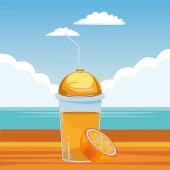 トロピカルフルーツとスムージーの飲み物