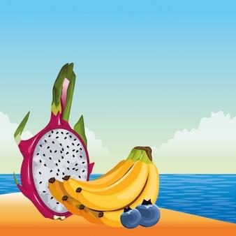 エキゾチックなトロピカルフルーツのアイコン漫画