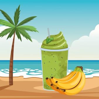 Тропический фрукт и напиток смузи