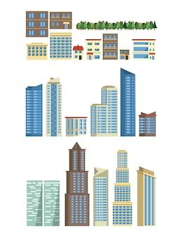 都市の建物やアイコンの高層ビルセット