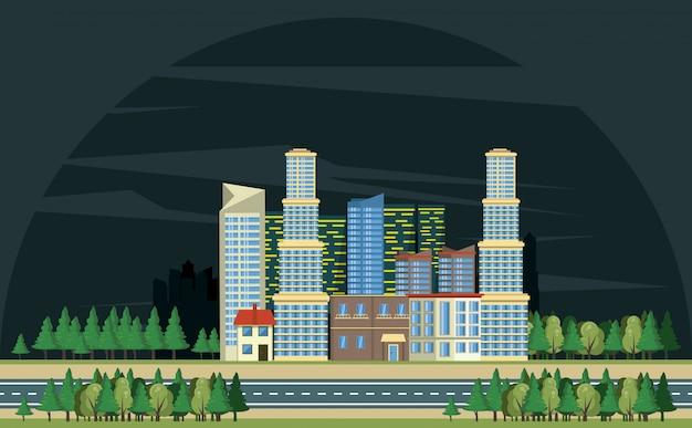 Городские здания с городской пейзаж
