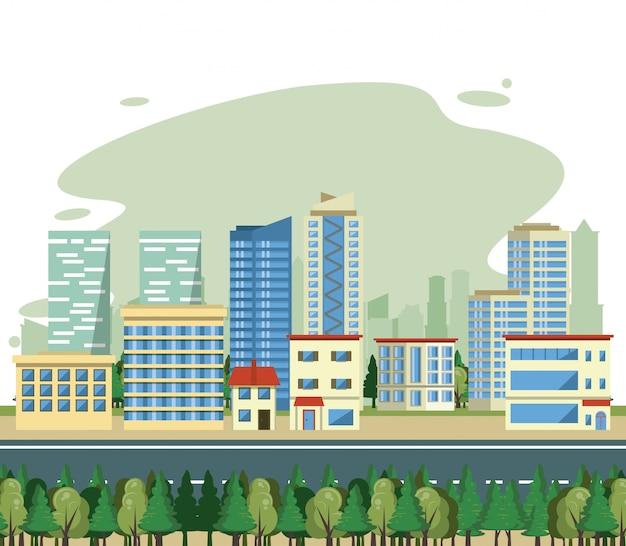 都市の建物街並みビュー風景