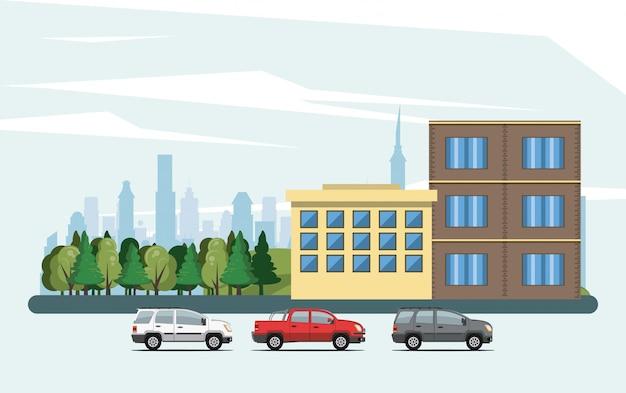 都市の景観と都市の建物
