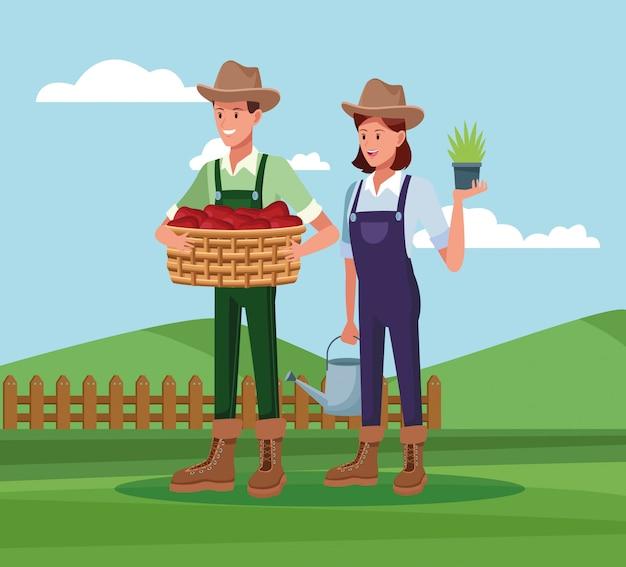 農場の漫画で働く農家