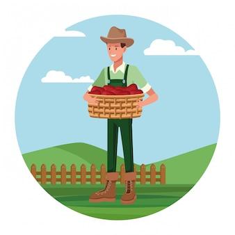 Фермер работает в лагере мультфильмов