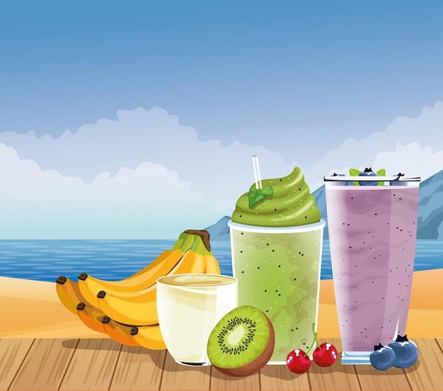 夏の休暇と漫画のスタイルのビーチ