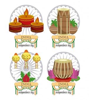 カラフルなインドの独立記念日カードのセット