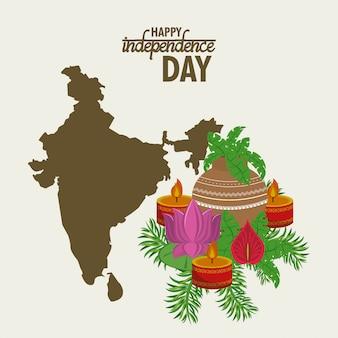 Красочная карта дня независимости индии