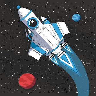 宇宙を飛んでいる宇宙船