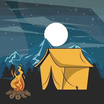 夜の風景で森の中のキャンプの冒険