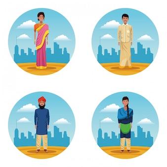 インドの女性と男性のインド人