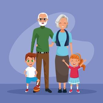 祖父母と孫の子供たちの漫画