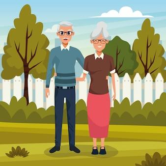 Пара бабушек и дедушек, улыбаясь в природе мультфильм