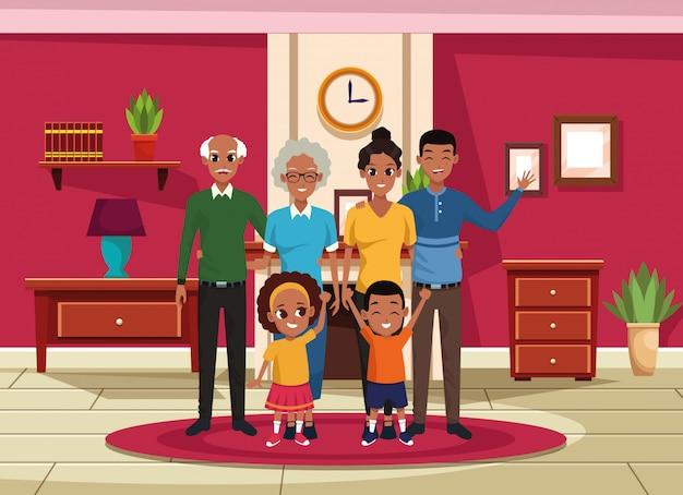 家族の祖父母、両親と子供の漫画