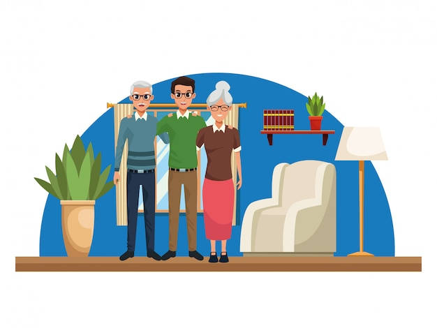 Семейные родители и сын мультфильмы