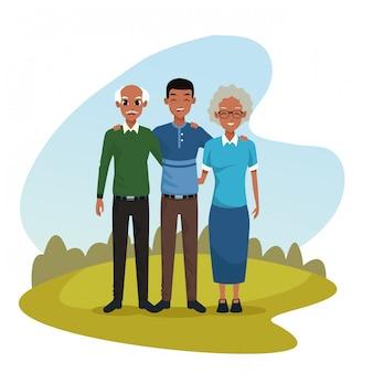 家族の両親と息子の漫画