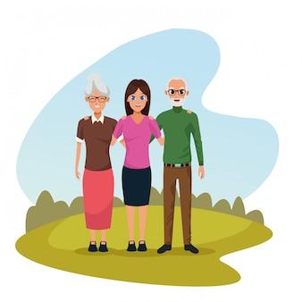 家族の両親と娘の漫画