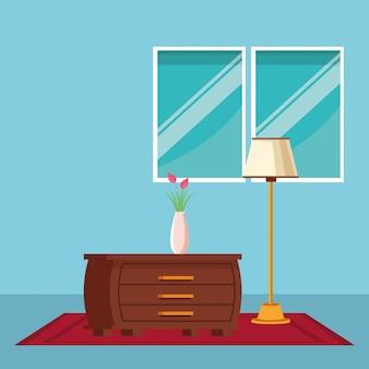 家具家のインテリアのアイコン漫画