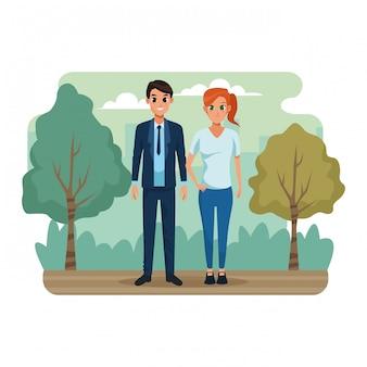 公園の風景の中の若いカップル