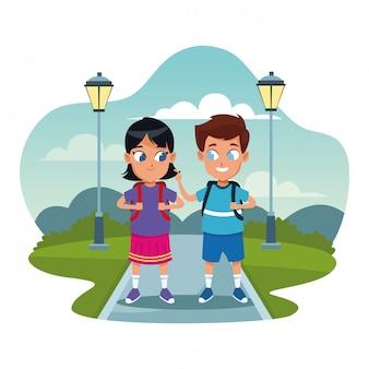 バックパックの漫画と学校の子供たち