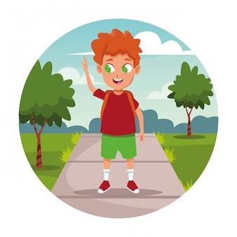 バックパック漫画と学校の男の子