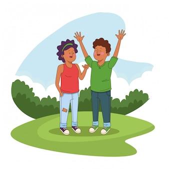 Подростки друзья в парке мультфильмов