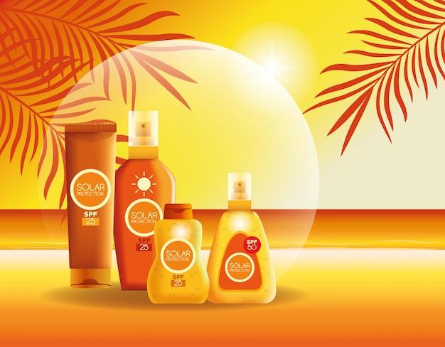 夏の日焼け止めボトル製品