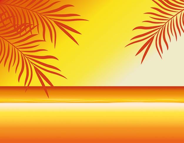 夏とビーチのぼかしの背景