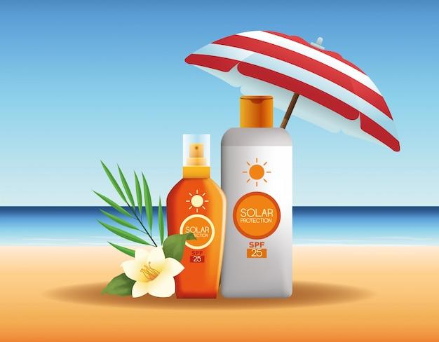 夏の広告用日焼け止めボトル製品