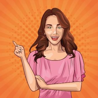 Поп-арт молодая женщина мультфильм