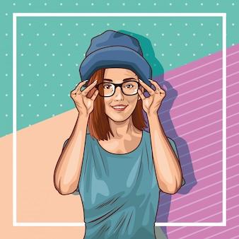 ポップアートの若い女性の漫画