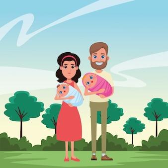 Семейный аватар мультипликационный персонаж портрет