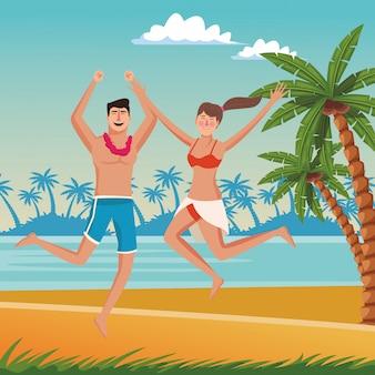 夏の漫画で幸せなカップル